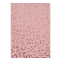 Stylish faux rose gold glitter leopard ombre pink poster