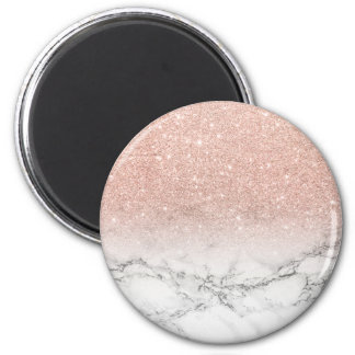 Stylish faux rose pink glitter ombre white marble 2 inch round magnet