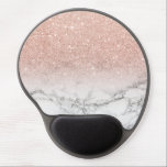 "Stylish faux rose pink glitter ombre white marble gel mouse pad<br><div class=""desc"">A cool,  trendy and stylish faux rose gold pink glitter ombre on modern white marble background. You can personalize it by adding your name or monogram</div>"