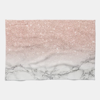 Stylish faux rose pink glitter ombre white marble hand towel