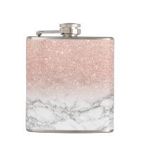 Stylish faux rose pink glitter ombre white marble