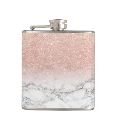 Stylish faux rose pink glitter ombre white marble hip flask at Zazzle