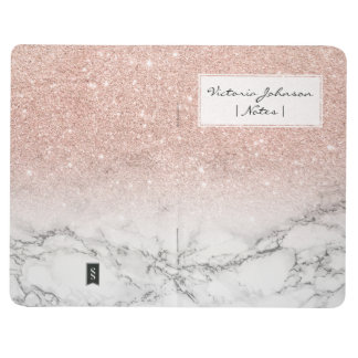 Stylish faux rose pink glitter ombre white marble journal