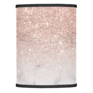 Girly lamp shades zazzle stylish faux rose pink glitter ombre white marble lamp shade audiocablefo