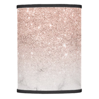Pink lamp shades zazzle stylish faux rose pink glitter ombre white marble lamp shade aloadofball Gallery