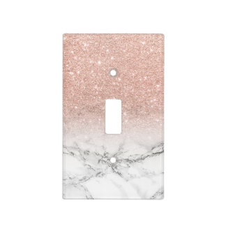 Stylish faux rose pink glitter ombre white marble light switch cover
