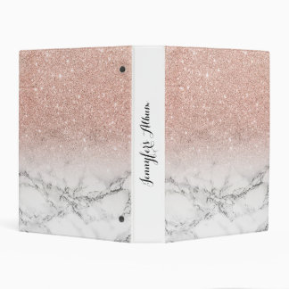 Stylish faux rose pink glitter ombre white marble mini binder