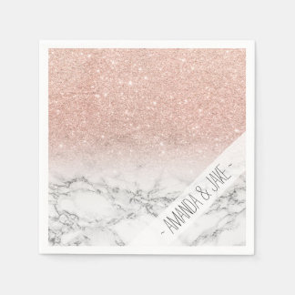 Stylish faux rose pink glitter ombre white marble paper napkin