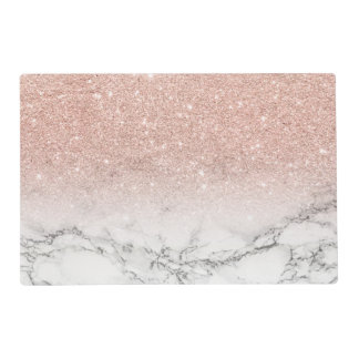 Stylish faux rose pink glitter ombre white marble placemat