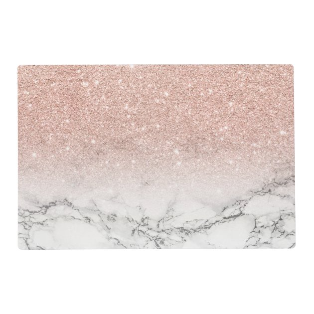 Stylish Faux Rose Pink Glitter Ombre White Marble Placemat Zazzle Com