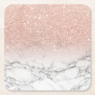 Stylish faux rose pink glitter ombre white marble square paper coaster