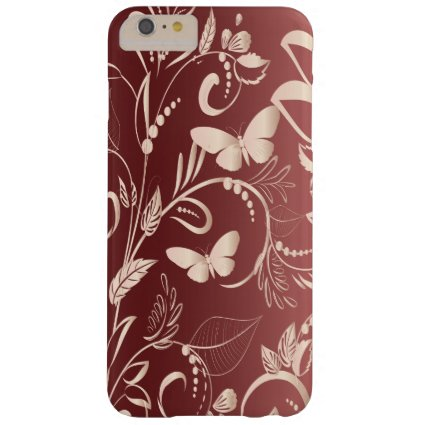 Stylish Faux Rose Quartz and Garnet Butterflies Barely There iPhone 6 Plus Case