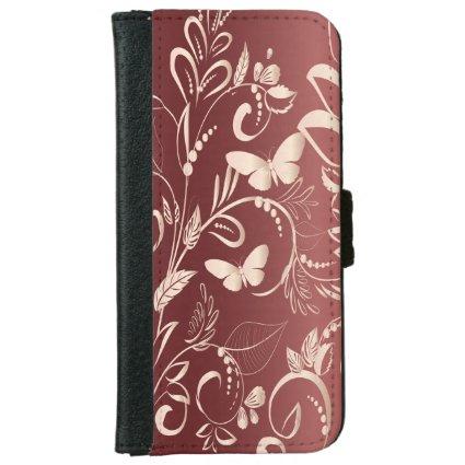 Stylish Faux Rose Quartz and Garnet Butterflies iPhone 6 Wallet Case