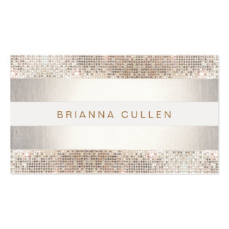 Stylish Faux Sequin Stripe Beauty and Fashion Business Card Templates