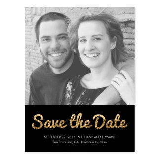 Stylish Faux Shimmer Glitter Save The Date Photo Postcard