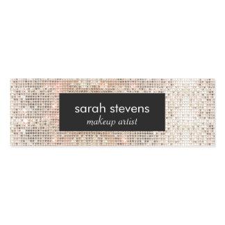 Stylish Faux Silver Sequins Beauty Fashion Retro Mini Business Card