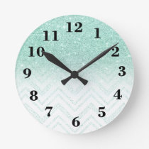 Stylish faux teal glitter ombre modern chevron round clock