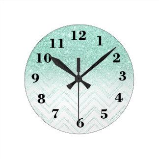 Stylish faux teal glitter ombre modern chevron round clock