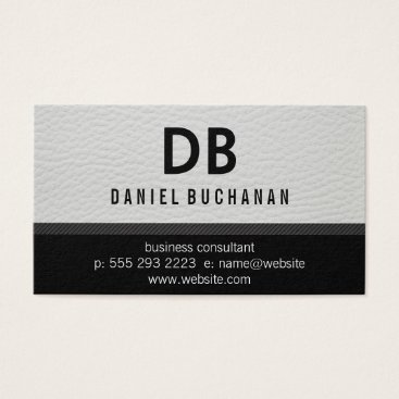 Professional Business Stylish Faux White Leather Monogram Business Card