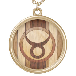 Stylish Faux Wood Taurus Symbol Custom Necklace