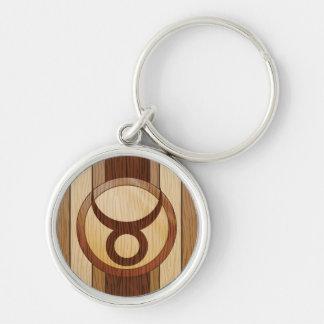 Stylish Faux Wood Taurus Zodiac Symbol Silver-Colored Round Keychain