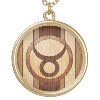 Stylish Faux Wood Taurus Zodiac Symbol Round Pendant Necklace