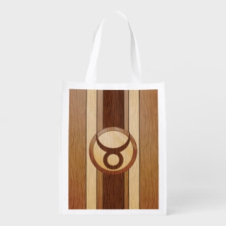 Stylish Faux Wood Taurus Zodiac Symbol Reusable Grocery Bag