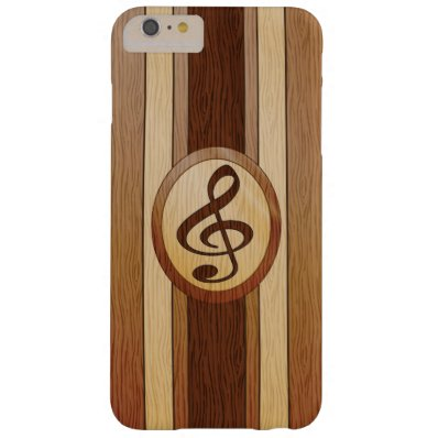 Stylish Faux Wood Treble Clef Inlay Barely There iPhone 6 Plus Case