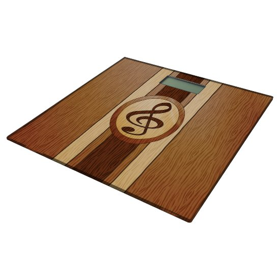 Stylish Faux Wood Treble Clef Inlay Bathroom Scale
