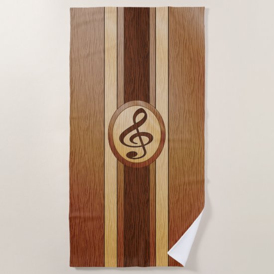 Stylish Faux Wood Treble Clef Inlay Beach Towel
