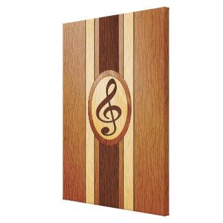 Stylish Faux Wood Treble Clef Inlay Canvas Print