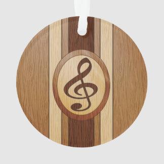 Stylish Faux Wood Treble Clef Inlay Ornament