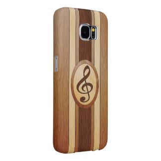 Stylish Faux Wood Treble Clef Inlay Samsung Galaxy S6 Case