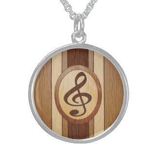 Stylish Faux Wood Treble Clef Inlay Sterling Silver Necklace