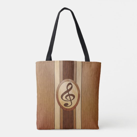 Stylish Faux Wood Treble Clef Inlay Tote Bag