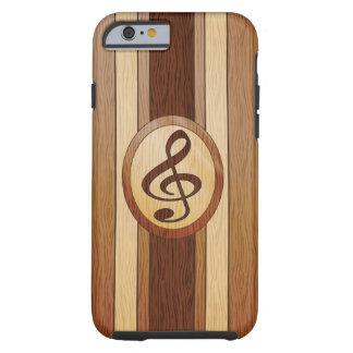 Stylish Faux Wood Treble Clef Inlay Tough iPhone 6 Case