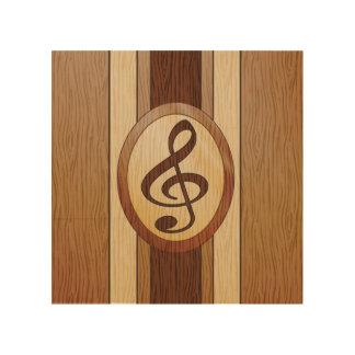 Stylish Faux Wood Treble Clef Inlay Wood Print
