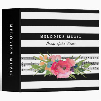 Stylish Floral and Stripes Musical Notes With Name 3 Ring Binder