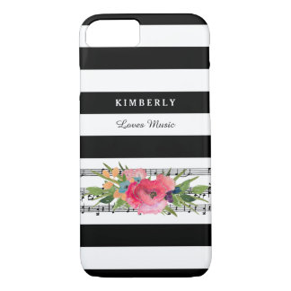 Stylish Floral and Stripes Musical Notes With Name iPhone 8/7 Case