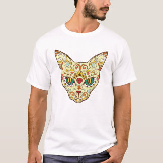 Stylish floral Cat Design T-Shirt