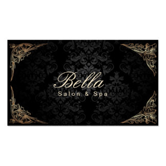 Stylish Floral Framed Damask Salon & Spa Double-Sided Standard Business Cards (Pack Of 100)