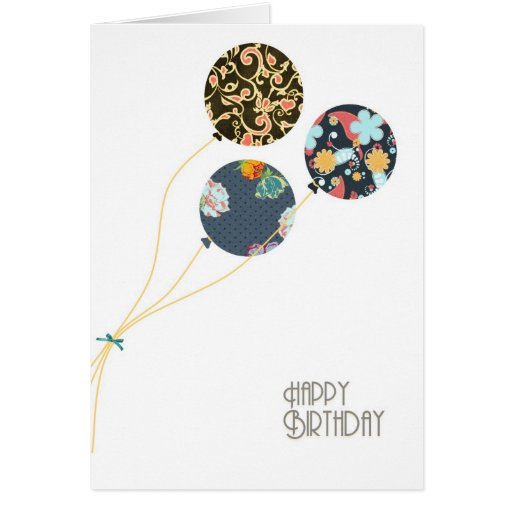 Stylish Floral Happy Birthday Balloons Greeting Card