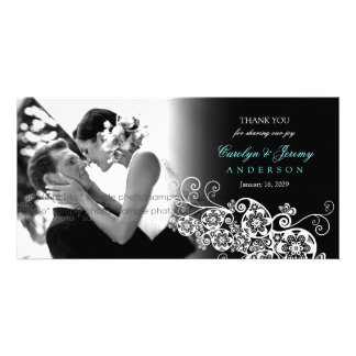Stylish Floral Paisley Boho Chic Wedding Thank You Photo Card
