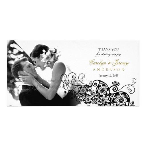 Stylish Floral Paisley Boho Chic Wedding Thank You Customized Photo Card
