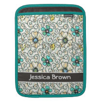 Stylish Floral Pattern Personalized iPad Sleeve