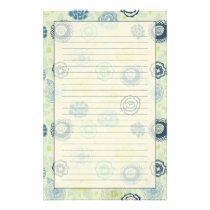 Stylish floral pattern with cute flowers stationery