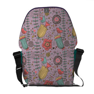 Stylish floral pattern with flowers messenger bag