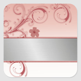 stylish  floral pattern with silver monogram line square sticker