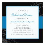 "Stylish Floral Rehearsal Dinner Invitation (Blue) 5.25"" Square Invitation Card"