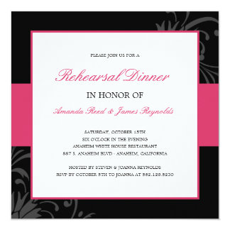 Stylish Floral Rehearsal Dinner Invitation (Pink) Announcements